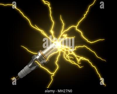 automotive spark plug. with electric arcs. 3d illustration - Stock Photo