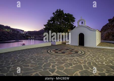 St Pauls Chapel, St Pauls Bay, Lindos, Rhodes, Greece - Stock Photo