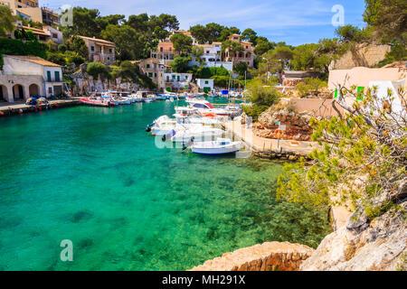 Typical fishing boats in beautiful port, Cala Figuera village, Majorca island, Spain - Stock Photo