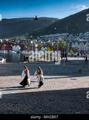 Two girls / young ladies in traditional bunad costume on Norwegian Constitution day, 17th May, syttende mai - Stock Photo