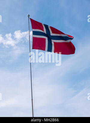 Norwegian flags, in a parade for Norwegian Constitution day, 17th May (syttende mai) - Stock Photo
