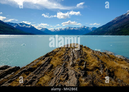 A view of wonderful Lago Argentino in Argentinian Patagonia, with my back to the famous Perito Moreno glacier. - Stock Photo