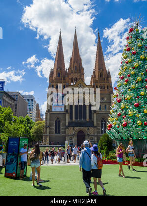 Festive Christmas decorations at Federation Square opposite St Paul's Cathedral, Melbourne, Victoria, Australia. 26 December 2017 - Stock Photo