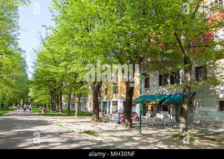 Spring in Venice. Fresh green trees in the Parco della Rimembranze along Viale 1V Novembre, Sant'Elena, Venice, Veneto, Italy, Open air retsaurant - Stock Photo