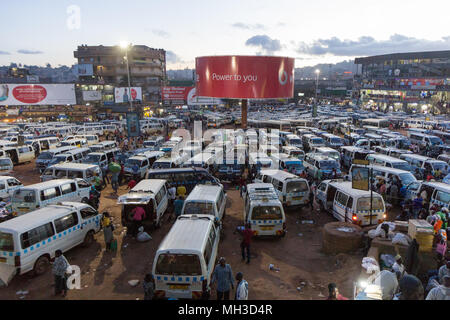 Kampala, Uganda. May 14 2017. A busy and crowded taxi park where countless drivers are seeking customers. - Stock Photo