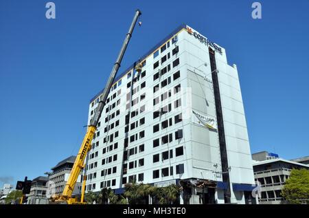 Christchurch, New Zealand - October 29,  2011: Copthorne Hotel Demolition starts after devastating Februrary 2011 Earthquake. - Stock Photo