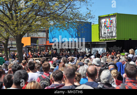 Christchurch, New Zealand - October 29, 2017: Opening Ceremony for the Heart Start campaign to ressurect the centre of Christchurch retail sector afte - Stock Photo