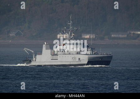 KNM Otra (M351), an Alta-class minesweeper operated by the Royal Norwegian Navy, passing Gourock on its arrival for Exercise Joint Warrior 18-1. - Stock Photo