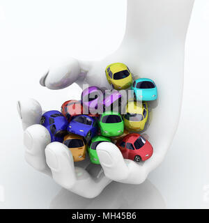 Handful of Colored 3d Cartoon Cars - Stock Photo