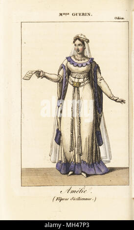 French actress Mlle. Guerin as Amelie in the tragedy Vepres Siciliennes by Casimir Delavigne at the Odeon, 1819. - Stock Photo
