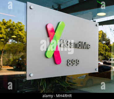 Mountain View, California - April 26, 2018: A logo sign outside of the headquarters of 23andMe, an American personal genomics and biotechnology company - Stock Photo