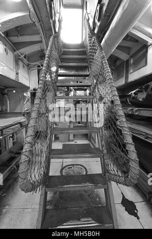 The corridor on an old American World War Two submarine - Stock Photo
