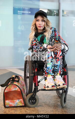 Russia. 30th Apr, 2018. MOSCOW, RUSSIA - APRIL 30, 2018: Singer Yulia Samoilova representing Russia seen at Moscow's Sheremetyevo International Airport ahead of the departure of the Russian delegation for the 2018 Eurovision Song Contest scheduled to start on May 8 in Lisbon, Portugal. Anton Novoderezhkin/TASS Credit: ITAR-TASS News Agency/Alamy Live News - Stock Photo