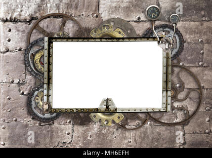 Grunge background with metallic frame with vintage machine gears and cogwheel. Mock up template. Can be used for steampunk and mechanical design - Stock Photo