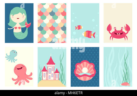 Set of banner, flyer, placard with cute mermaid, fish, octopus, crab, castle. Poster set for scrapbooking. Vector template card for greeting, decorati - Stock Photo