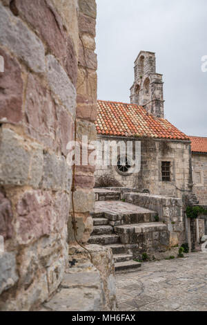 Historic building in the old town fort in Budva, Montenegro - Stock Photo