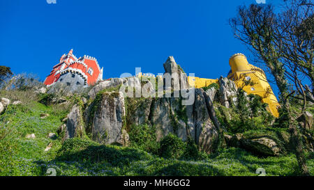 Palace da Pena over the rocks bottom view. Sintra, Lisbon. Portugal - Stock Photo