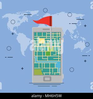 smartphone with gps navigation app - Stock Photo