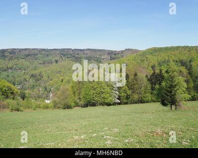 Beauty panorama of Little Beskid Mountains range landscape seen from Przegibek pass near Bielsko-Biala city in Poland - Stock Photo