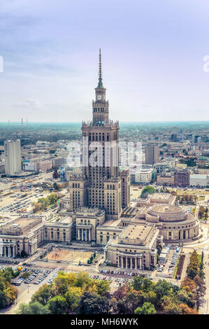 Warsaw / Poland - 09.15.2015: Aerial view on the heart of downtown with Palace of Culture and Science in the middle. Vertical. - Stock Photo