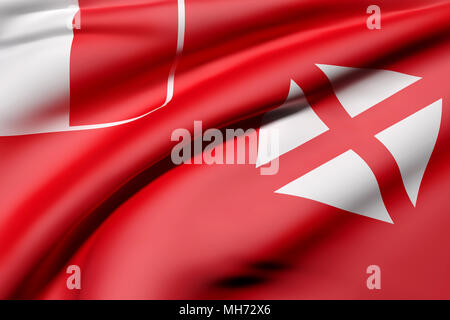 3d rendering of Territory of the Wallis and Futuna Islands flag waving - Stock Photo