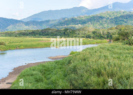 River in Costa Rica in rainforest - Stock Photo