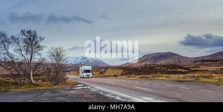 RV Camper Vehicle In Scenic Highlands of Scotland - Stock Photo