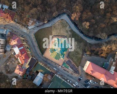 St. Andrew's church aerial top view in city Kiev, Ukraine - Stock Photo