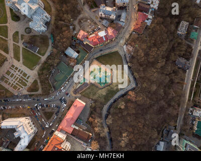 Aerial top view of Saint Andrew's church from above in Kiev city - Stock Photo