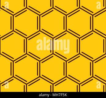 Vector honeycomb seamless pattern. Geometric hexagonal pattern on yellow background - Stock Photo