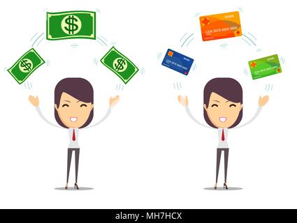 Woman with a credit card and cash - Stock Photo