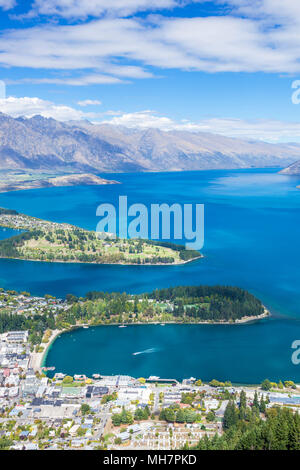 Queenstown South Island new zealand aerial view of downtown queenstown town centre lake wakatipu and the remarkables landscape queenstown new zealand