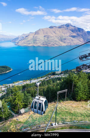 Queenstown South Island new zealand aerial view of  the skyline gondola downtown queenstown town centre lake wakatipu and cecil peak - Stock Photo