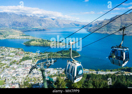 Queenstown South Island new zealand aerial view of  the skyline gondola downtown queenstown town centre lake wakatipu and the remarkables - Stock Photo