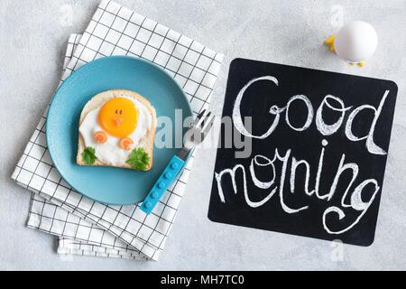 Good Morning Breakfast For Kids. Egg Sandwich Chicken. Creative Food Art Sandwich. Cute Funny Chicken Toast For Children. Good Morning Chalkboard. Top - Stock Photo