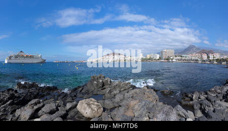 Los Cristianos with arriving ferry - Stock Photo