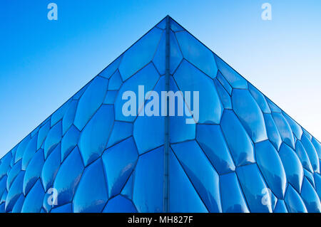 A detail of the Beijing National Aquatics Center, colloquially known as the Water Cube, in the Olympic Park in Beijing, China. - Stock Photo
