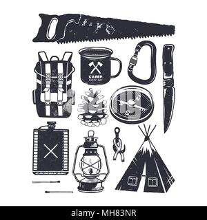 Vintage hand drawn camping symbols. Hiking icons in retro monochrome style. Silhouette mountain adventure elements. Perfect for logo creation, infographics. Stock vector - Stock Photo