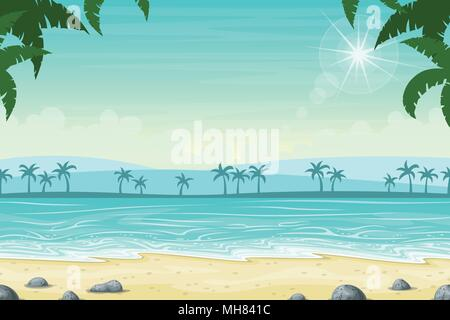 Tropical beach landscape summer background with palm trees - Stock Photo