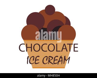 Chocolate ice cream in a waffle basket on a white background. Vector illustration - Stock Photo
