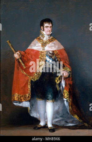 Ferdinand VII of Spain, King Ferdinand VII of Spain (1784 – 1833) twice King of Spain: in 1808 and again from 1813 to his death. Painting by Francisco Goya - Stock Photo