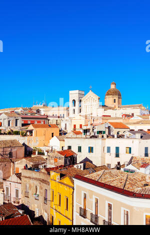 an aerial view of the old town of Cagliari, in Sardinia, Italy, highlighting the bell tower and the top of the facade of the Saint Marias Cathedral in - Stock Photo