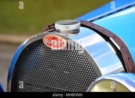 Bugatti race car grill and badge - Stock Photo