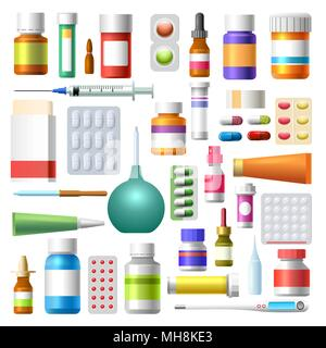 Medications. Medicine drugs, pharmacy bottles, containers with tablets, pills and medications vector illustration - Stock Photo