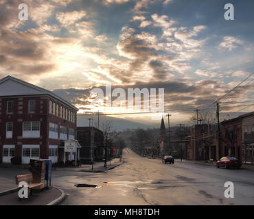 Camillus, New York, USA.  April 28, 2018. Small town of Camillus , NY, in upstate New York , early morning after a rain shower - Stock Photo