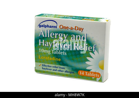 Largs, SCotland, UK - April 25, 2018:                                       Box of Galpharm Loratadine tablets in recyclable box in agreement with UK  - Stock Photo