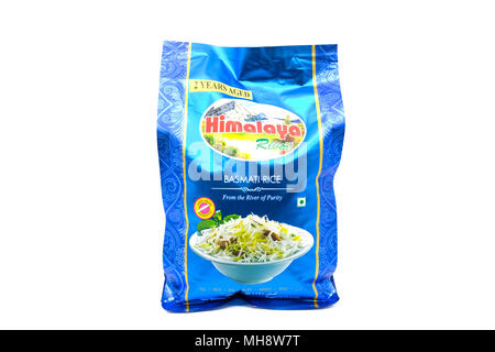 Largs, SCotland, UK - April 25, 2018: Himalaya basmati rice in partially recyclable bag,                                      in agreement with UK Gov - Stock Photo