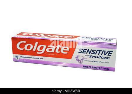 Largs, SCotland, UK - April 25, 2018:                                       A cardboard Box Containing Colgate Sensitive Toothpaste in Cardboard Recyc - Stock Photo