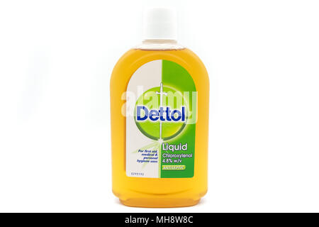 Largs, SCotland, UK - April 25, 2018:                                       A pastic Recyclable Bottle Containing Dettol  in agreement with UK Governm - Stock Photo