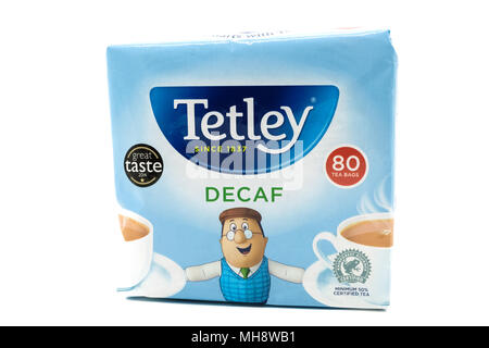 Largs, SCotland, UK - April 25, 2018:                                       Recyclable Paper based  Container or packet of Tetley Decaf Tea in agreeme - Stock Photo